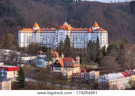 Karlovy Vary, Czech Republic - February 24, 2017: Karlovy Vary, aerial panoramic famous spa town view with hotel Imperial, Czech Republic