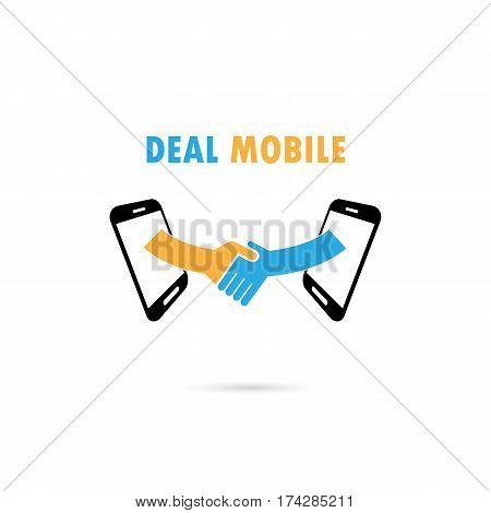 Business people handshake through mobile phone. Businesspeople shaking hands online.Businessmen deal business handshake concept.Vector illustration