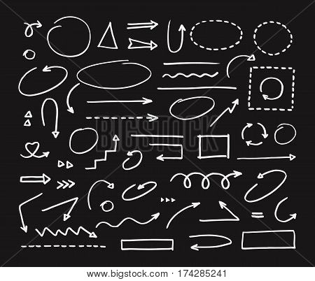 Handcrafted elements. Hand drawn vector arrows set on black background