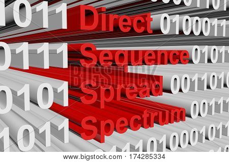 direct sequence spread spectrum in the form of binary code, 3D illustration
