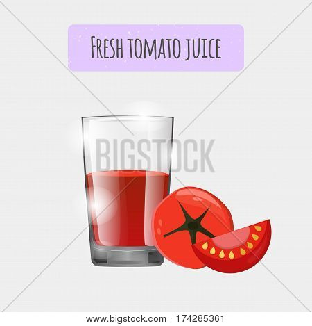 Tomato Juice. Vector, Eps10. Realistic Glass Of A Healthy Vegetable Tomato Juice. Fresh Smoothie Ill