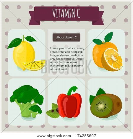 Vitamin C. Vector Illustration, Eps 10. Fruit And Vegetables With Vitamin C Infographics Set.