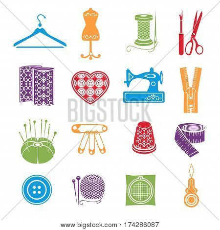 Set Of Vector Icons Sewing Tools. Multicolored Sewing Supplies On White Background