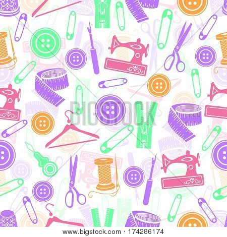 Sewing Tools Seamless Pattern, Vector Background. Multicolored Sewing Supplies On White Background.