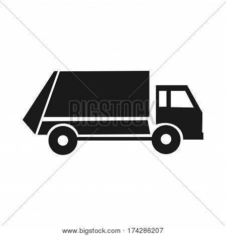 Black garbage icon. Communal Service. Special trucks. Cleaning the city. Isolated on a white background