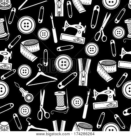 Sewing Tools Seamless Pattern, Vector Background. White Sewing Supplies On Black Background. For Wal