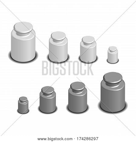 Set photorealistic calibration weights for scales of various sizes. 3D isometric style vector illustration.