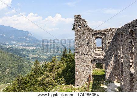 Ruin Castel Belfort near Spormaggiore in Trento in Italy Europe