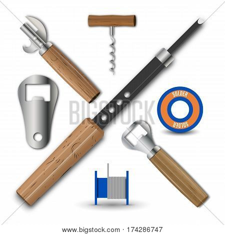 Set realistic retro items isolated on white background. Various bottle opener corkscrew and a soldering iron vector illustration.