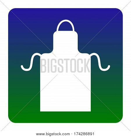 Apron simple sign. Vector. White icon at green-blue gradient square with rounded corners on white background. Isolated.