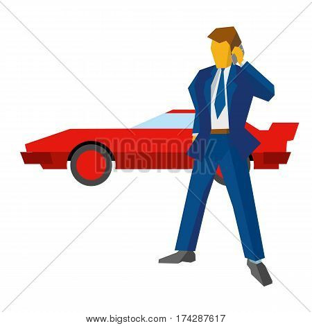 Businessman Or Lawyer With Phone. Red Car At The Back