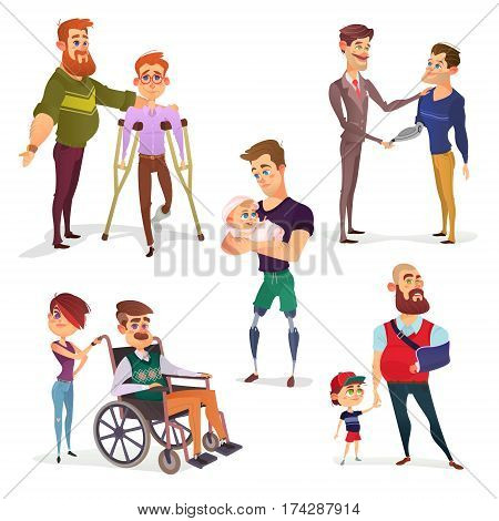 Set of vector cartoon illustrations of people with disabilities among others. Men with limited opportunities in a wheelchair, on crutches, with prosthetic legs, with a broken arm, with prosthetic arm