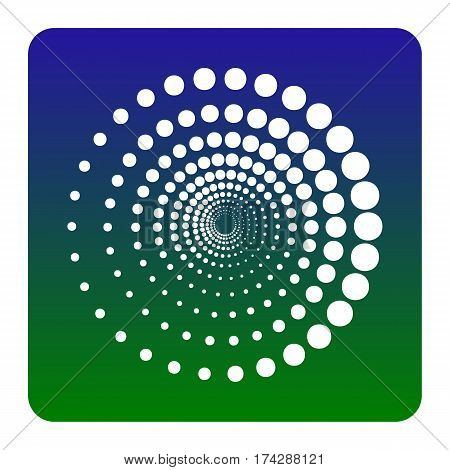 Abstract technology circles sign. Vector. White icon at green-blue gradient square with rounded corners on white background. Isolated.