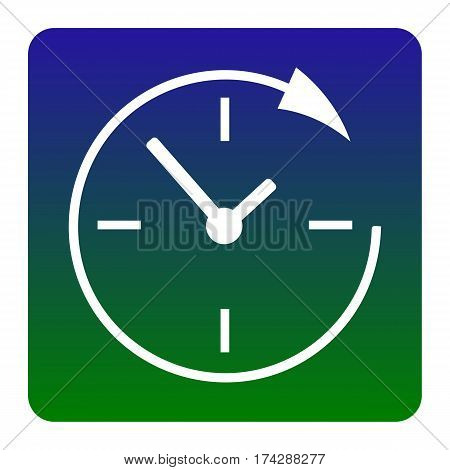 Service and support for customers around the clock and 24 hours. Vector. White icon at green-blue gradient square with rounded corners on white background. Isolated.