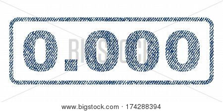 0.000 text textile seal stamp watermark. Blue jeans fabric vectorized texture. Vector caption inside rounded rectangular shape. Rubber sign with fiber textile structure.