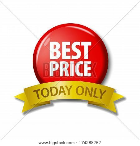 Red Button And Ribbon With Words 'best Price Today Only
