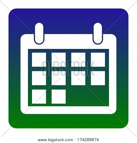 Calendar sign illustration. Vector. White icon at green-blue gradient square with rounded corners on white background. Isolated.