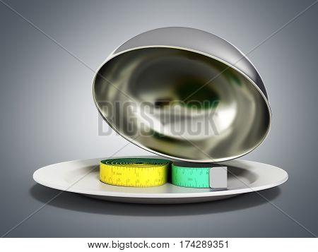 Concepts For A Healthy Food Measure Tape In Restaurant Cloche With Open Lid 3D Render On Grey Gradie