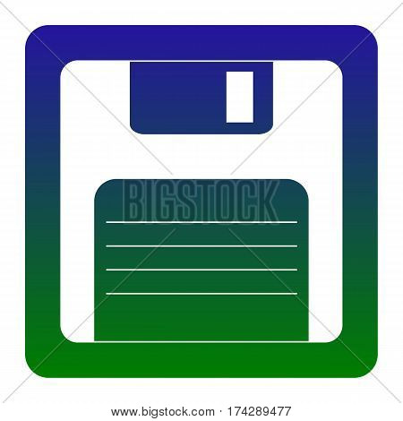 Floppy disk sign. Vector. White icon at green-blue gradient square with rounded corners on white background. Isolated.