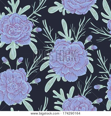 Seamless pattern with blue geranium flowers and sagebrush. Rustic floral background. Vintage vector botanical illustration in watercolor style.