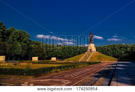 View to Soviet Soviet War Memorial aka Soviet Cenotaph in Treptower Park in Berlin Germany