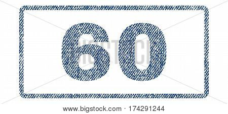 60 text textile seal stamp watermark. Blue jeans fabric vectorized texture. Vector caption inside rounded rectangular shape. Rubber emblem with fiber textile structure.