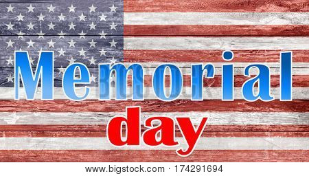 patriotism and national holidays concept - memorial day words over american flag painted on wooden texture