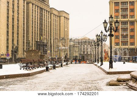 Moscow, Russia - January 22, 2017: Moss Street near the Manege Square in Moscow in the afternoon snowfall
