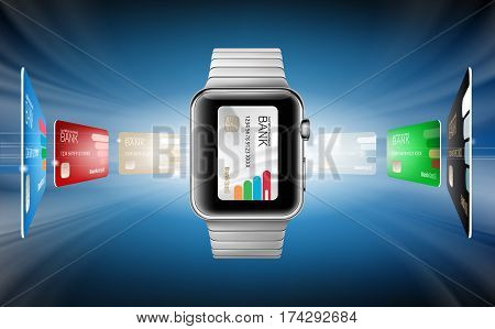 Vector illustration in a realistic style the concept of e-payments using the application on your wrist watch. Illustration of the wrist watch and bank cards on an abstract background.