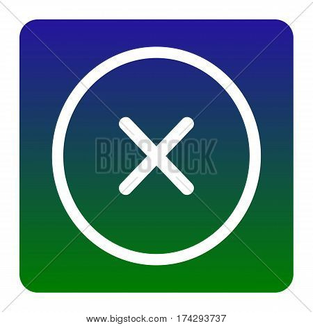 Cross sign illustration. Vector. White icon at green-blue gradient square with rounded corners on white background. Isolated.