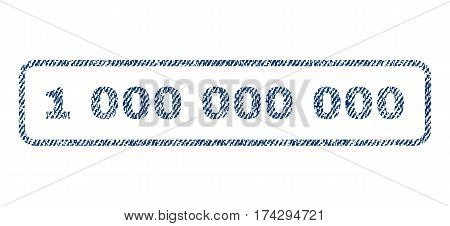 1 000 text textile seal stamp watermark. Blue jeans fabric vectorized texture. Vector tag inside rounded rectangular shape. Rubber sign with fiber textile structure.