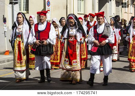 CAGLIARI, ITALY - May 1, 2015: 359 Religious Procession of Sant'Efisio - parade in traditional Sardinian costume - Sardinia