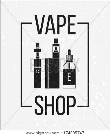 Vector icons of vape and accessories. Vector illustration for vape shop e-cigarette store