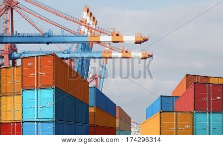 export import cargo containers in harbor