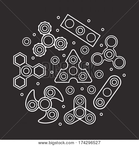 Hand Spinners illustration. Vector icons set on black background