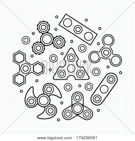 Hand Spinners illustration. Vector icons set on white background