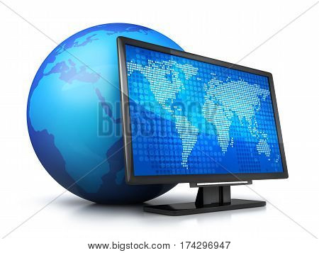 Abstract earth and computer monitor. 3d illustration