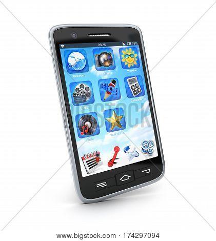 Modern smartphone on white background. 3d illustration
