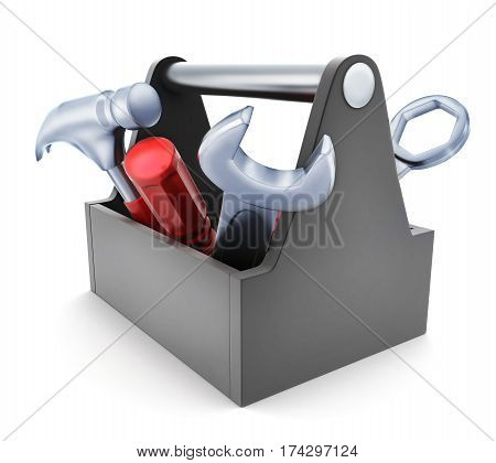 Toolbox symbol on white background. 3d illustration