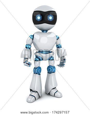 Modern robot only on white background. 3d illustration