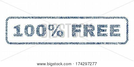 100 Percent Free text textile seal stamp watermark. Blue jeans fabric vectorized texture. Vector tag inside rounded rectangular shape. Rubber sign with fiber textile structure.