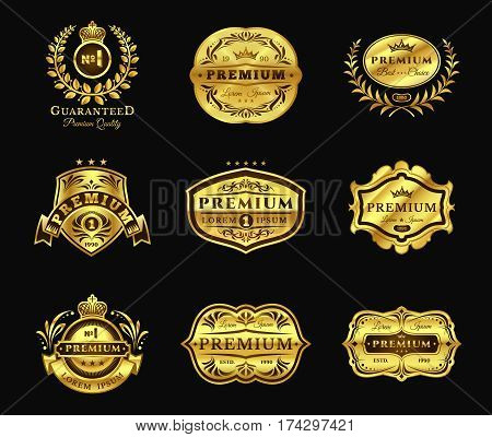 Set of vector illustrations golden badges, stickers premium quality isolated on black. Signs of the best quality, premium brands in vintage style