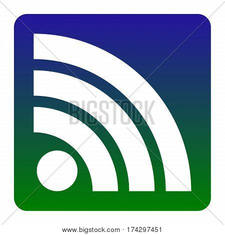 RSS sign illustration. Vector. White icon at green-blue gradient square with rounded corners on white background. Isolated.