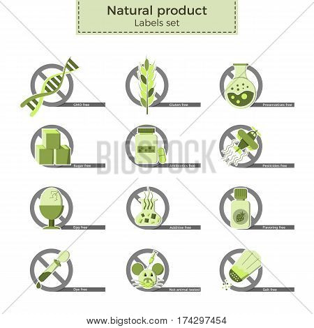 Natural product vector labels set. Dangerous ingredients or allergens to avoid in food, drinks and cosmetics. Icons crossed by