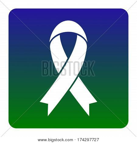 Black awareness ribbon sign. Vector. White icon at green-blue gradient square with rounded corners on white background. Isolated.