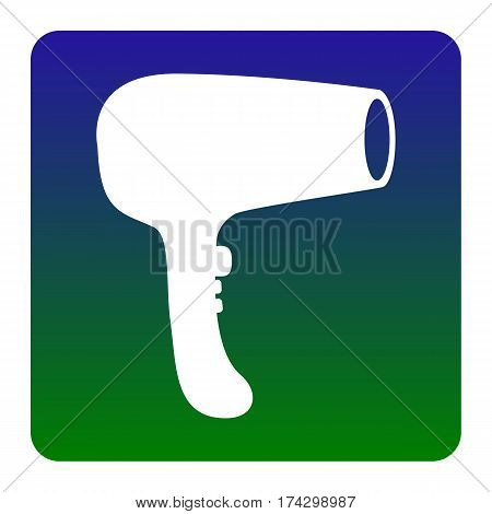 Hair Dryer sign. Vector. White icon at green-blue gradient square with rounded corners on white background. Isolated.