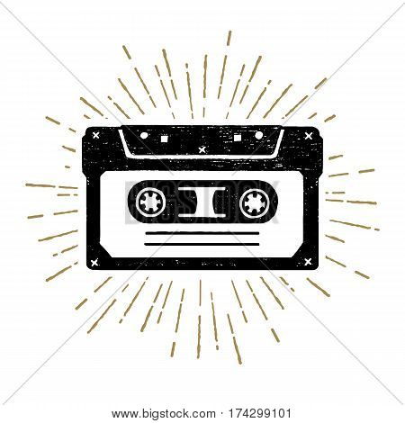 Hand drawn 90s themed icon with a cassette tape textured vector illustration.