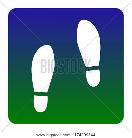 Imprint soles shoes sign. Vector. White icon at green-blue gradient square with rounded corners on white background. Isolated.