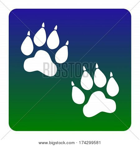 Animal Tracks sign. Vector. White icon at green-blue gradient square with rounded corners on white background. Isolated.