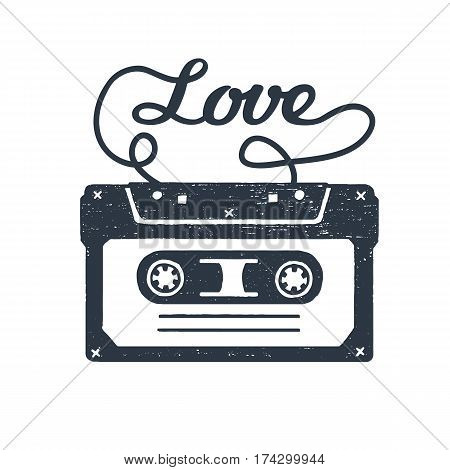 Hand drawn 90s themed badge with cassette tape textured vector illustration and